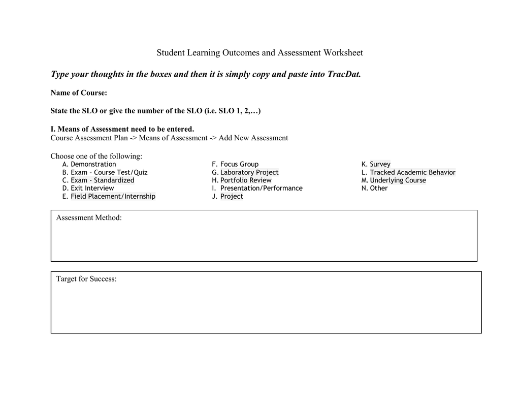 Student Learning Outcomes And Assessment Worksheet