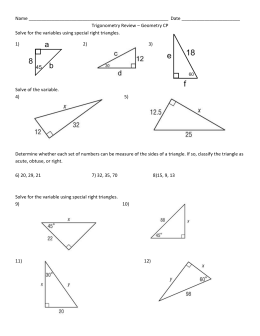 GEOMETRY PRE-TEST CHAPTER 4