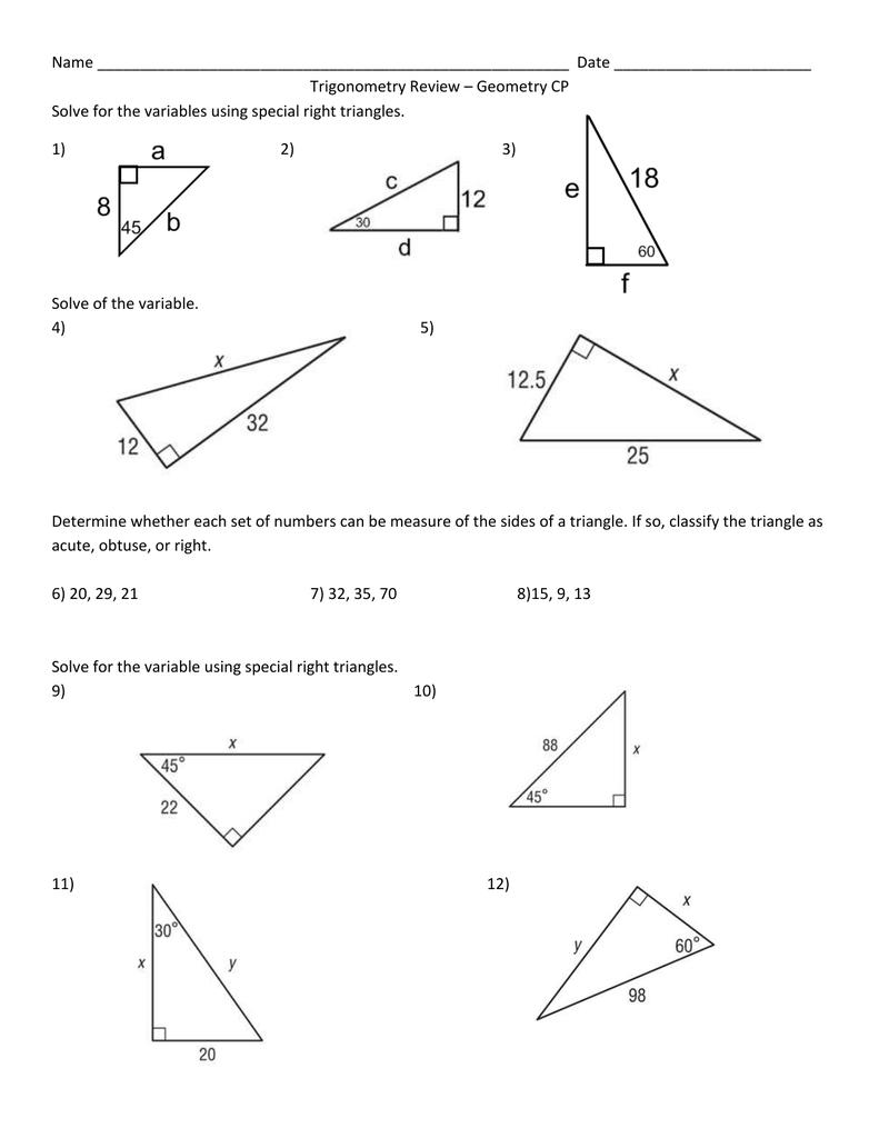 Trigonometry Review 1