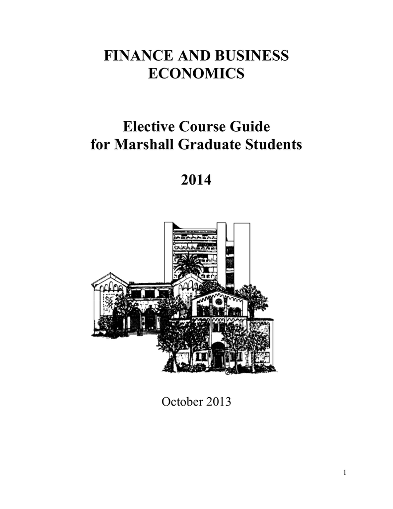 FINANCE AND BUSINESS ECONOMICS Elective Course Guide