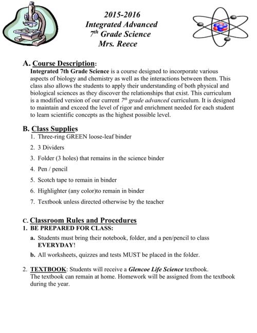 small resolution of Integrated Advanced 7th grade Science Course Criteria