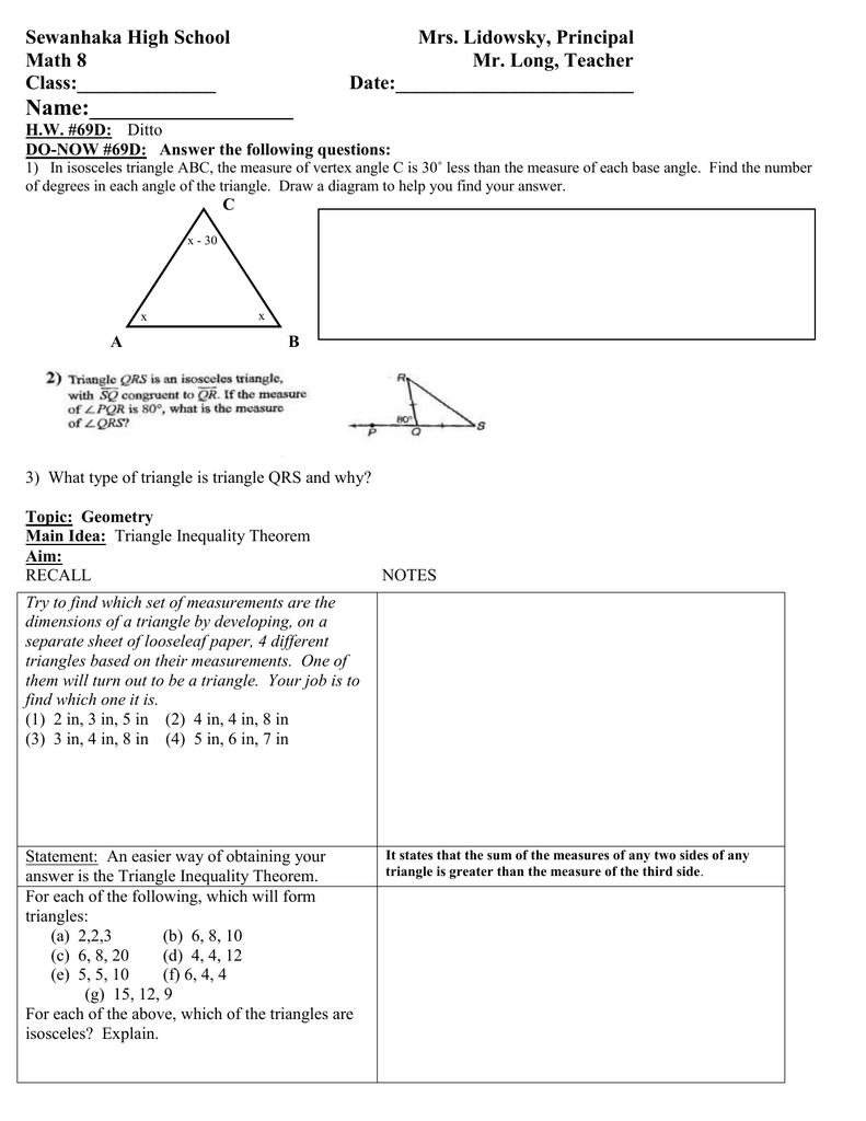 hight resolution of Math 8 Lesson Plan 69D Triangle Inequality Theorem class outline.doc