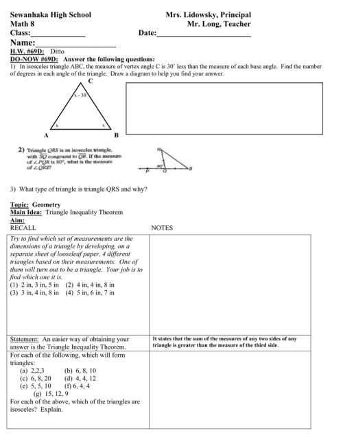 small resolution of Math 8 Lesson Plan 69D Triangle Inequality Theorem class outline.doc