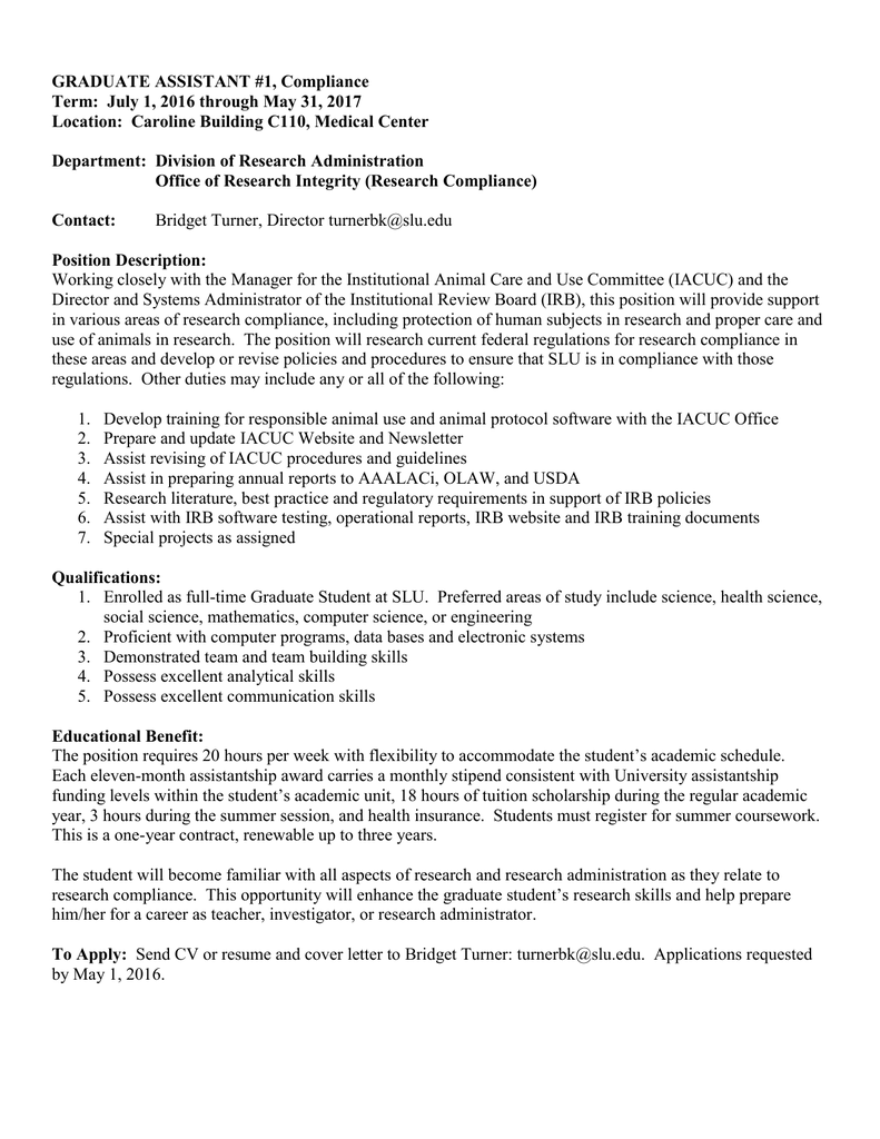 Irb Administrator Cover Letter Application For Ga For Research Administration