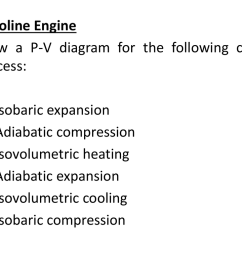 gasoline engine draw a p v diagram for the following cyclic process 1 2 3 4 5 6 isobaric expansion adiabatic compression isovolumetric heating  [ 1024 x 768 Pixel ]