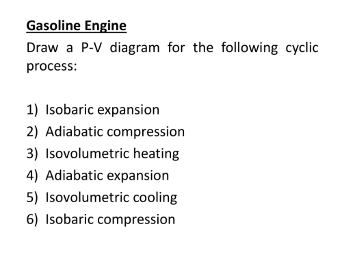 small resolution of gasoline engine draw a p v diagram for the following cyclic process 1 2 3 4 5 6 isobaric expansion adiabatic compression isovolumetric heating