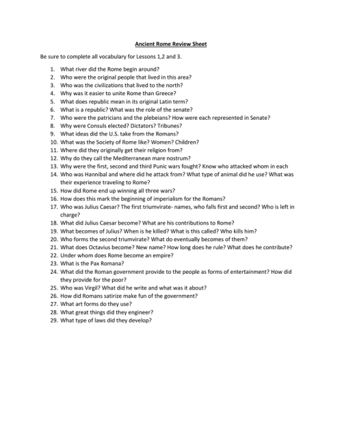 small resolution of Ancient Rome Review Sheet