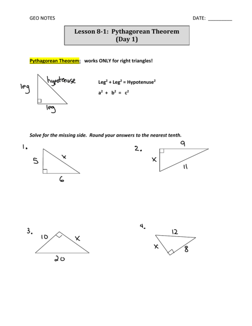 small resolution of geometry worksheet converse of the pythagorean theorem answers