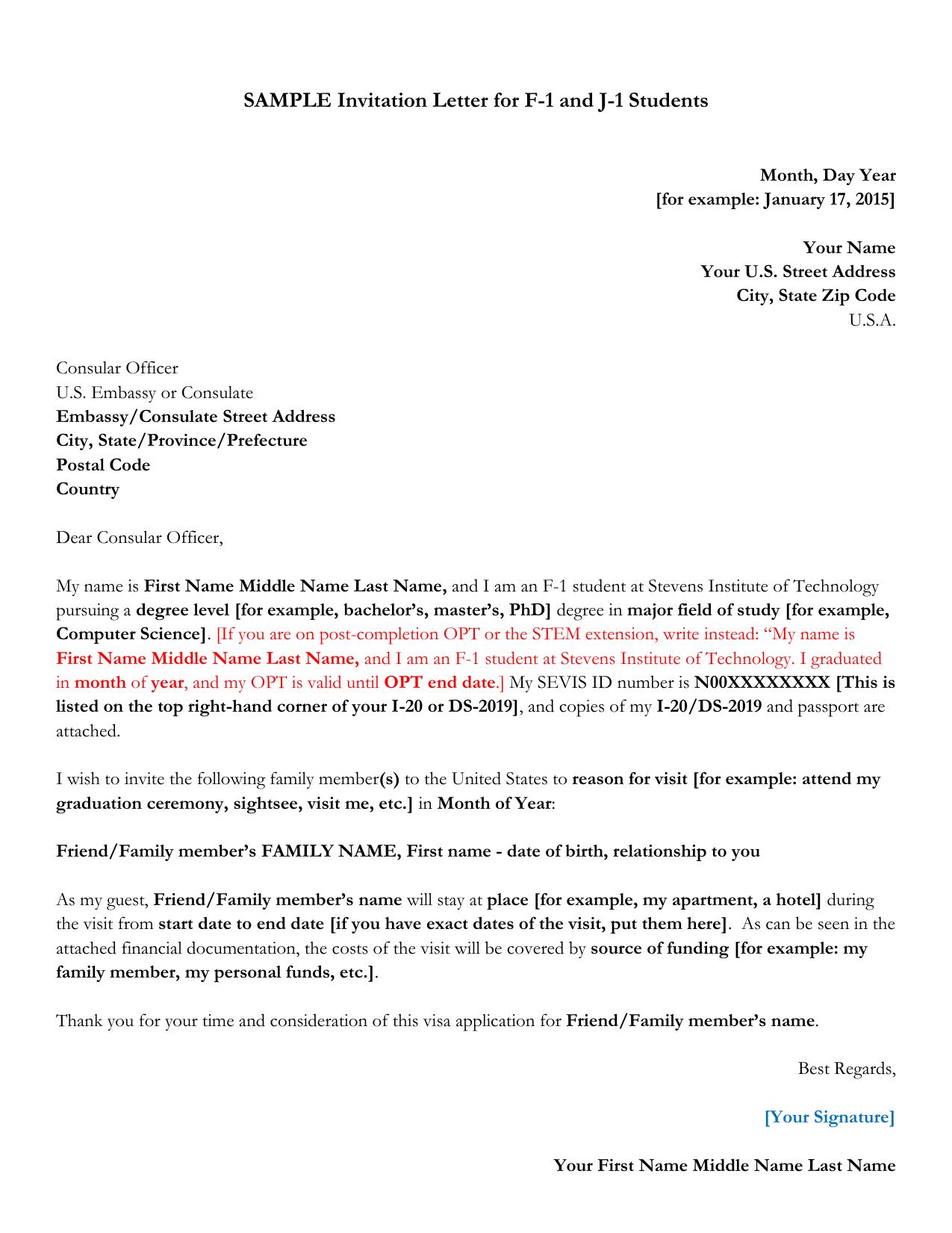 invitation letter for visa example letter