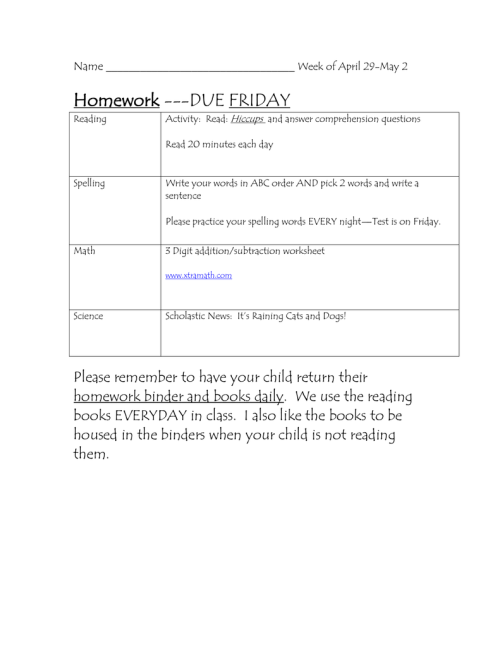 small resolution of Homework ---DUE FRIDAY Name Week of April 29-May 2