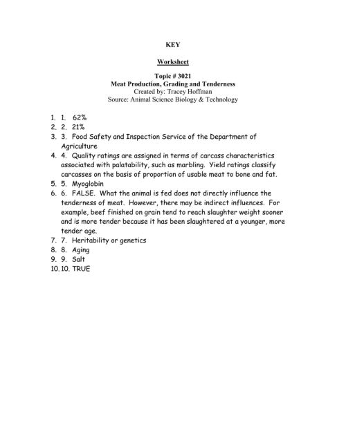 small resolution of KEY Worksheet Topic # 3021 Meat Production