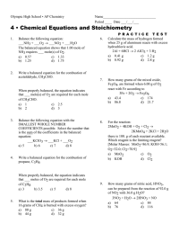 worksheet. Chemical Equations And Stoichiometry Worksheet ...