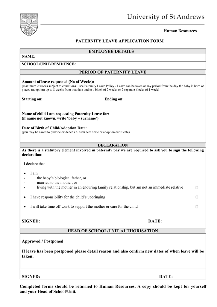 PATERNITY LEAVE APPLICATION FORM EMPLOYEE DETAILS PERIOD ...