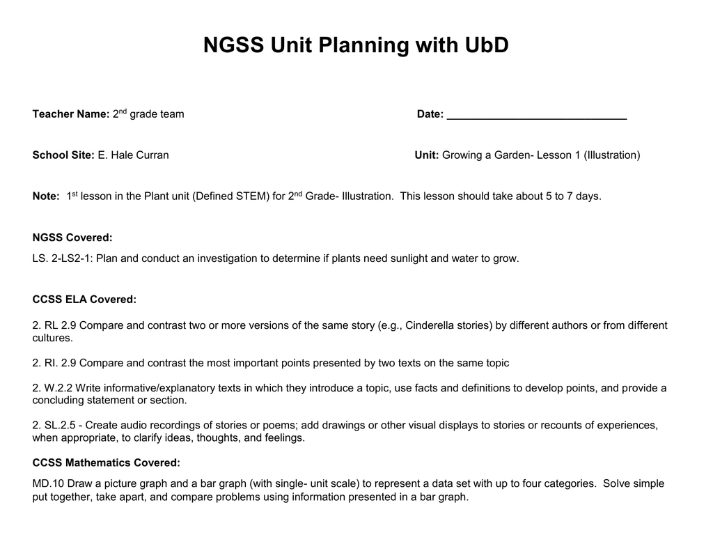 hight resolution of NGSS Unit Planning with UbD
