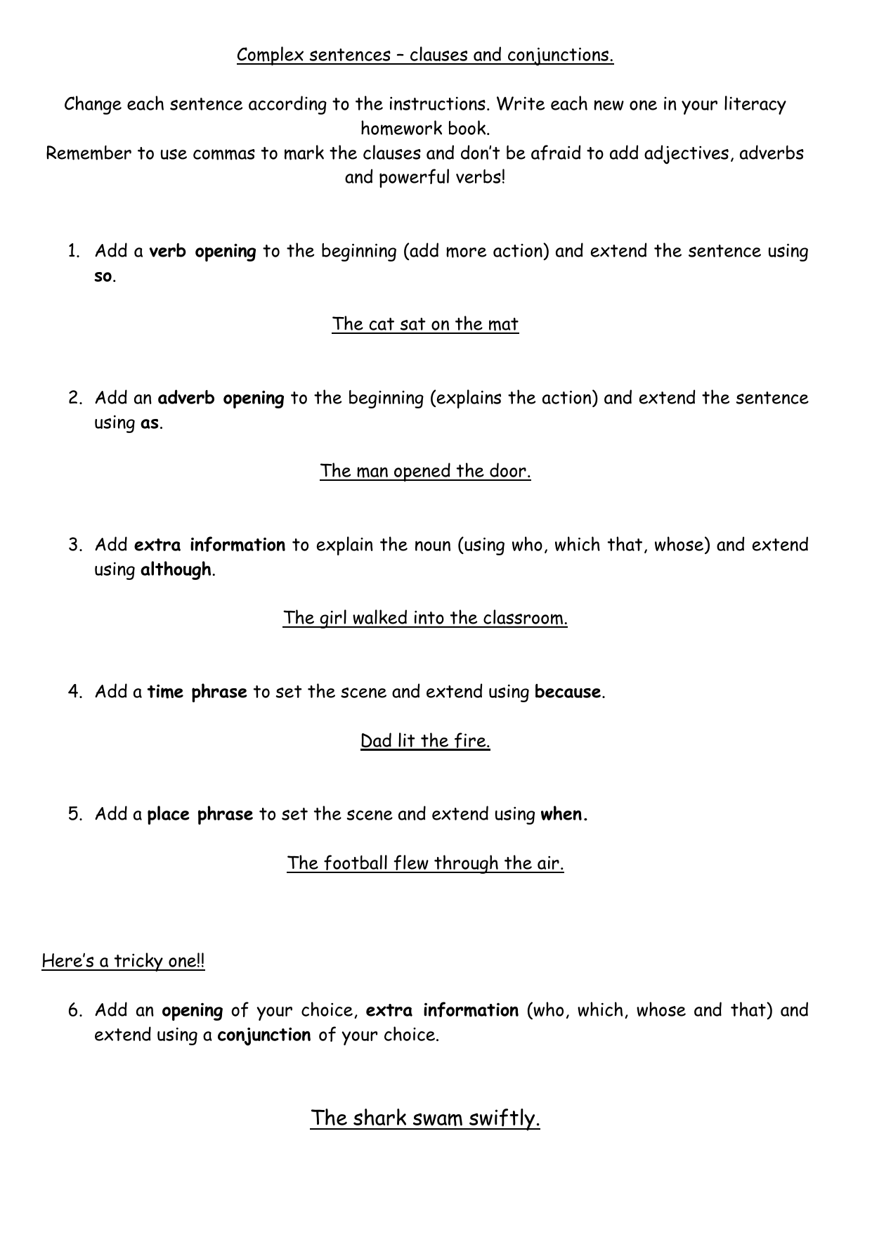 Complex Sentences Clauses And Conjunctions