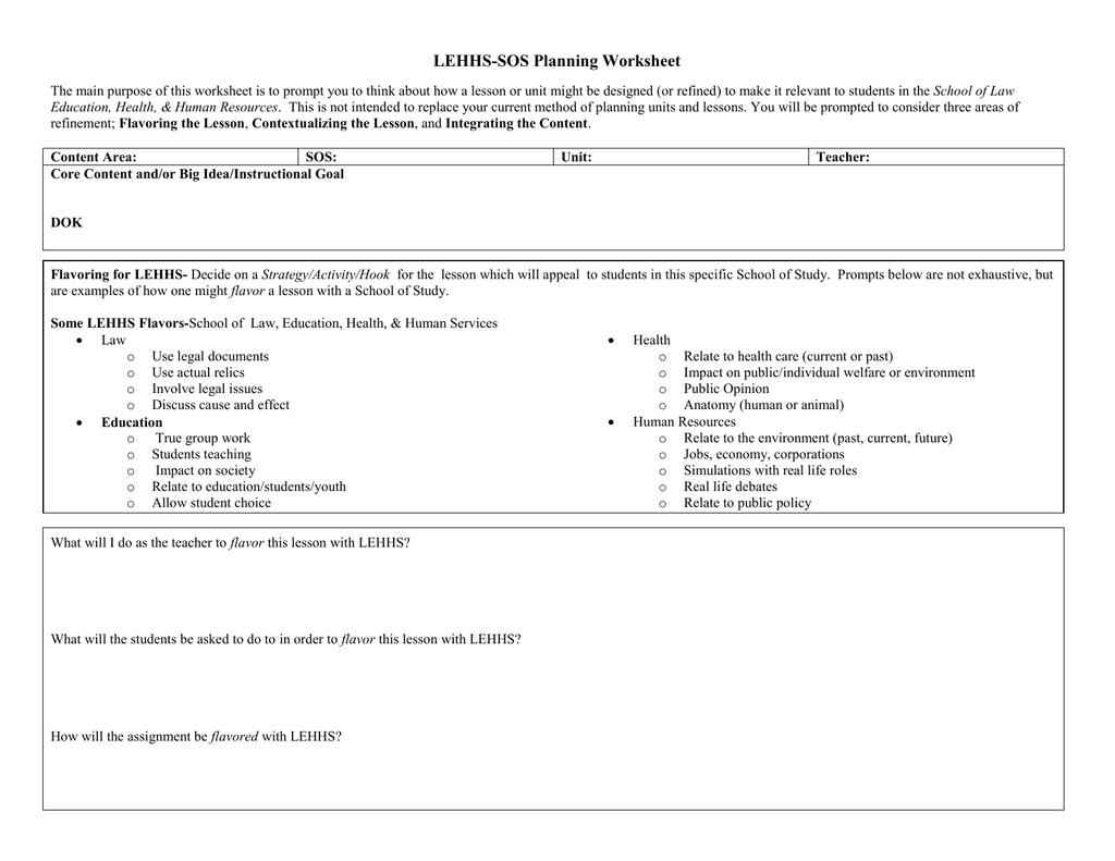 Lehhs Sos Planning Worksheet
