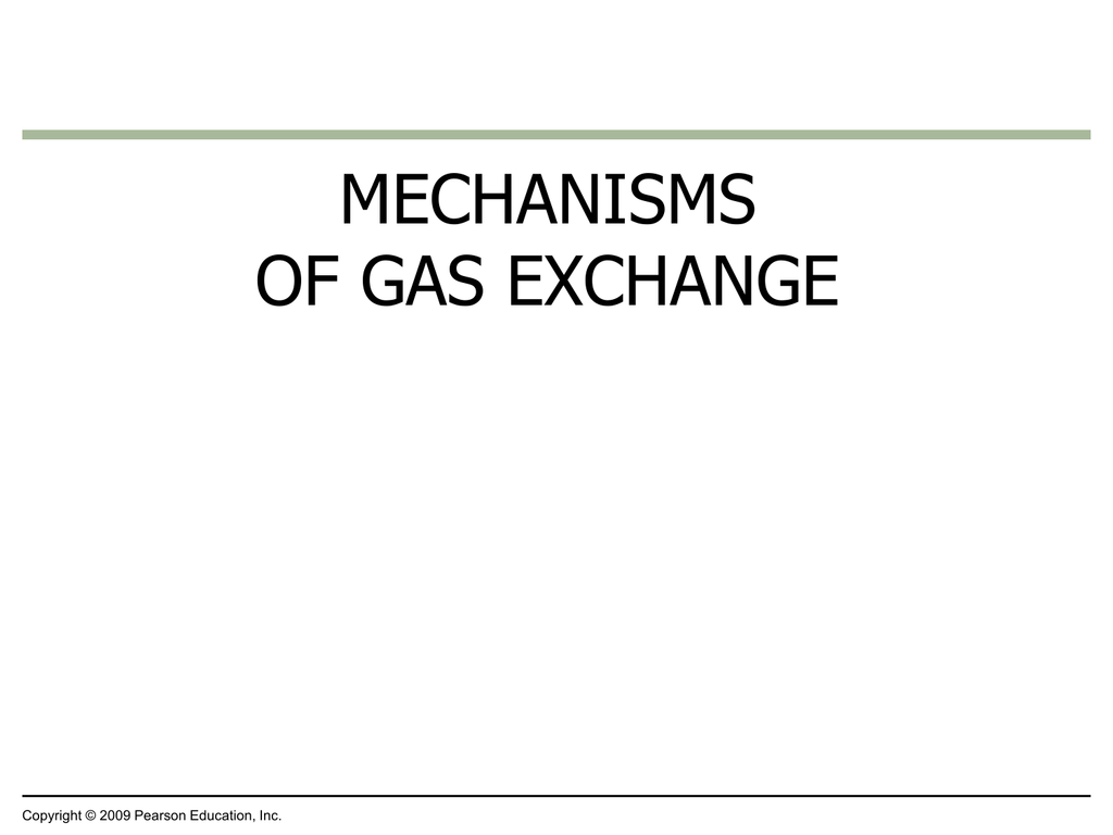 MECHANISMS OF GAS EXCHANGE Copyright © 2009 Pearson
