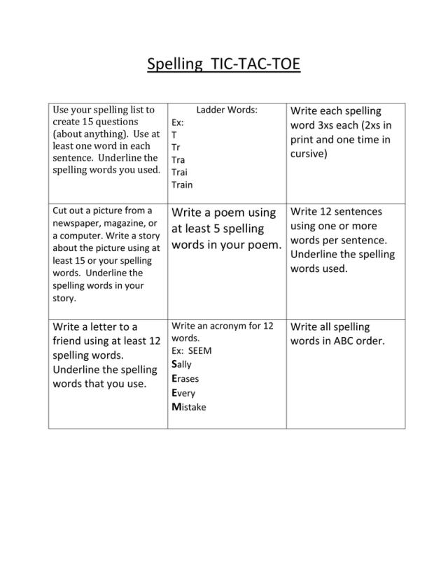 Spelling TIC-TAC-TOE Write each spelling word 244xs each (24xs in