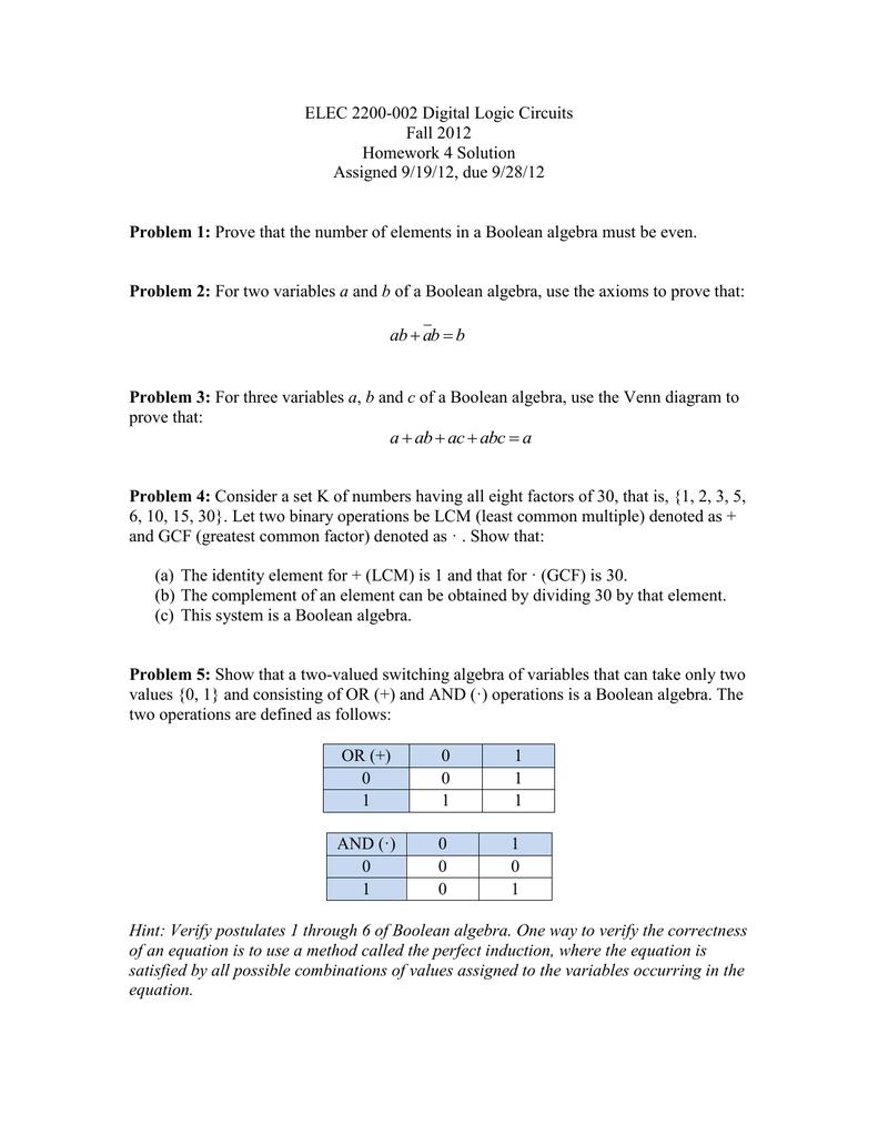 medium resolution of boolean logic venn diagram elec 2200 002 digital logic circuits fall 2012 homework 4 solution
