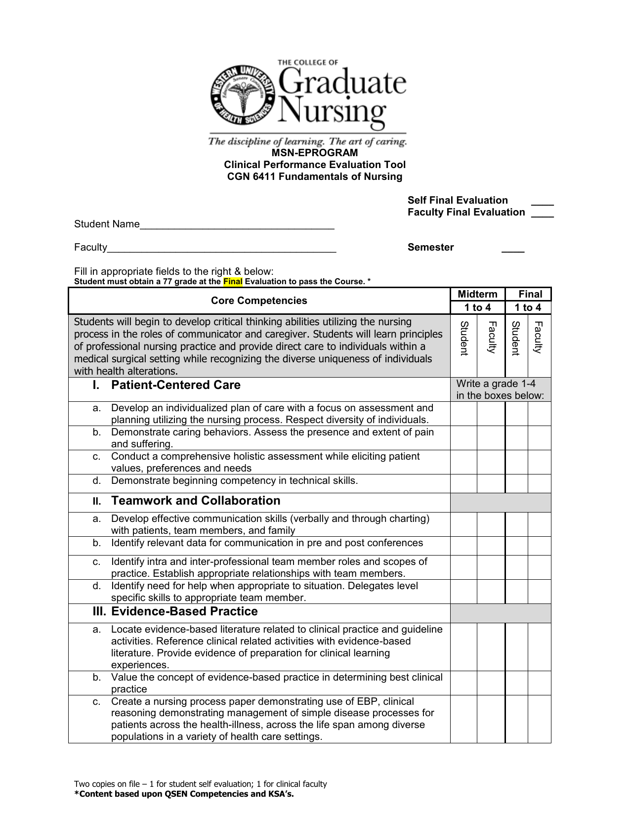 Msn Eprogram Clinical Performance Evaluation Tool Cgn