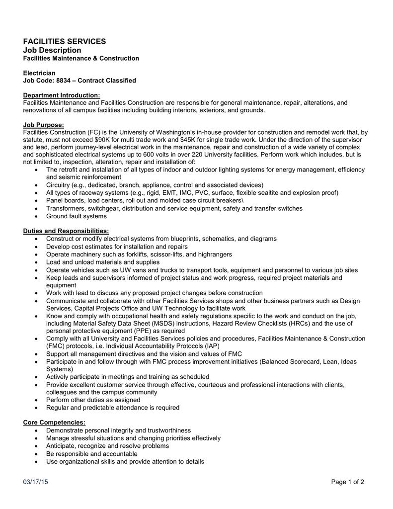 FACILITIES SERVICES Job Description