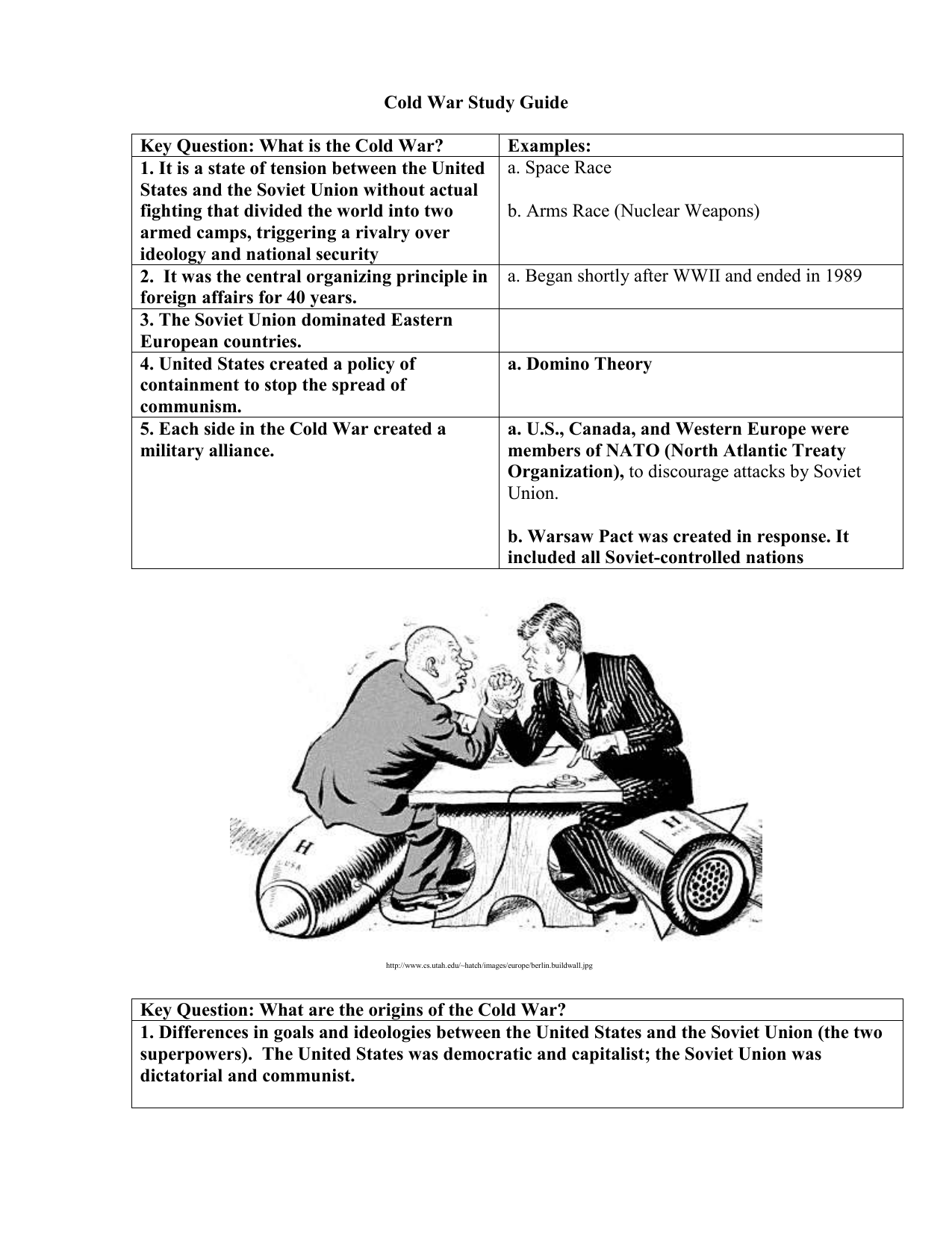 Cold War Study Guide Key Question What Is The Cold War