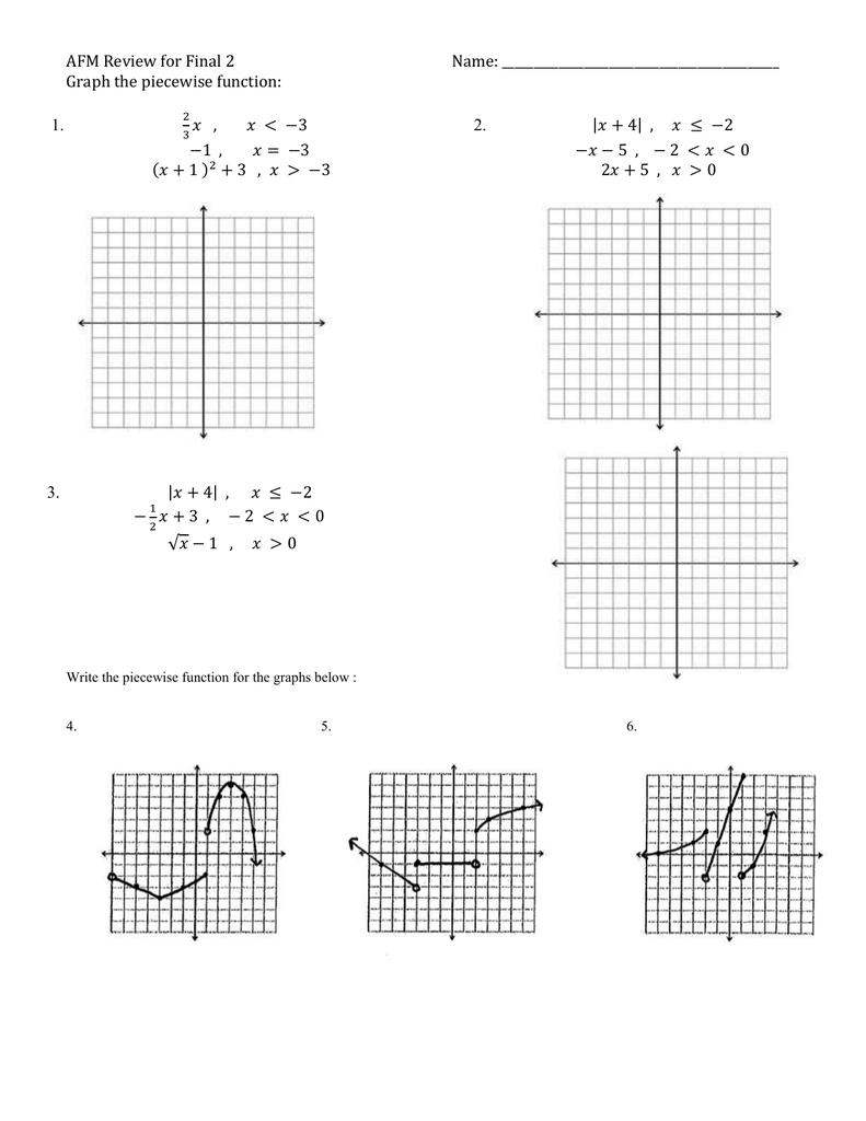 Printables of Piecewise Functions Review Worksheet