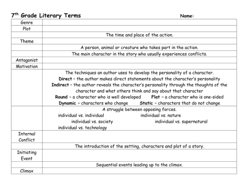 small resolution of 7 Grade Literary Terms