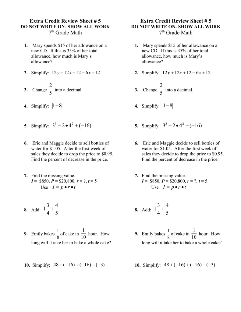 medium resolution of Extra Credit Review Sheet # 5 7 Grade Math