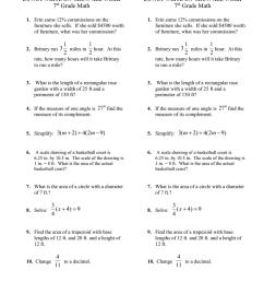 Extra Credit Review Sheet # 10 7 Grade Math [ 1024 x 791 Pixel ]