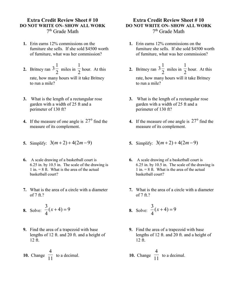 medium resolution of Extra Credit Review Sheet # 10 7 Grade Math