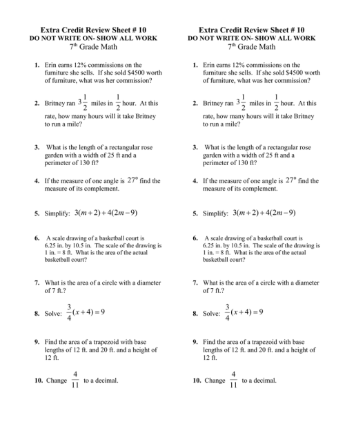 small resolution of Extra Credit Review Sheet # 10 7 Grade Math