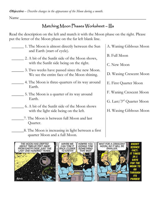 small resolution of Name Matching Moon Phases Worksheet – IIIa