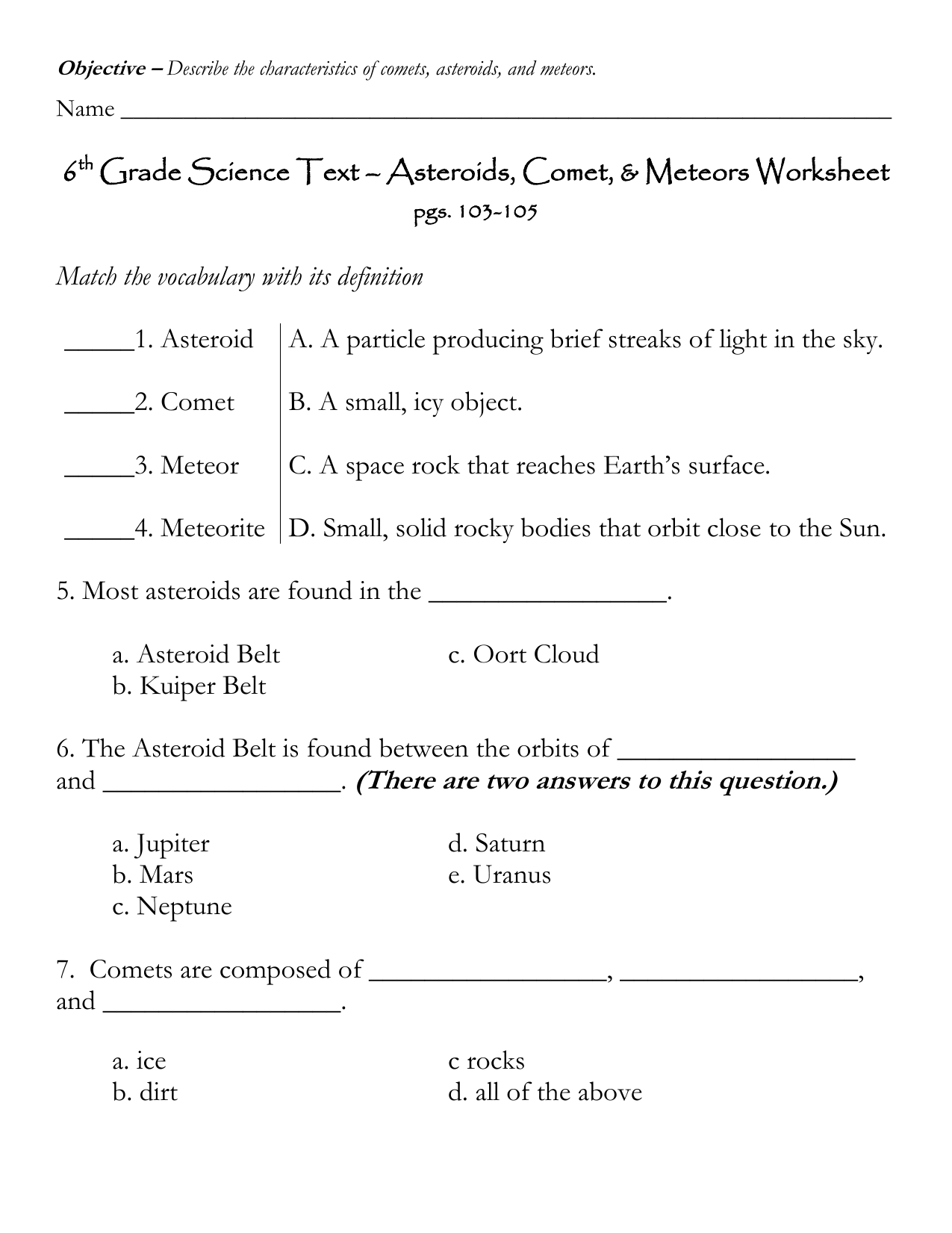 Worksheet Sixth Grade Science Worksheets Worksheet Fun