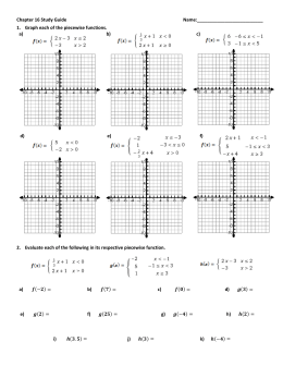 Worksheet Piecewise Functions