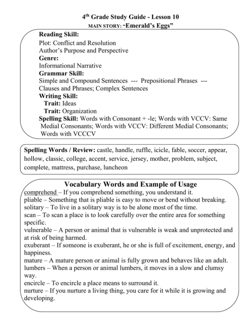 """small resolution of 4 Grade Study Guide - Lesson 10 Emerald's Eggs"""" Reading Skill:"""