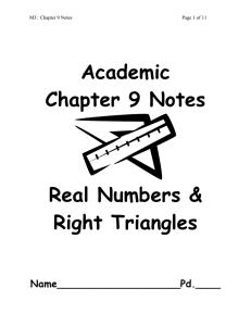 Pythagorean Theorem Review Sheet