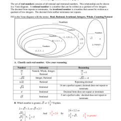 Venn Diagram Of Rational And Irrational Numbers Story Plot Worksheet Classifying Real