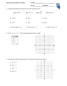 Function notation Worksheet