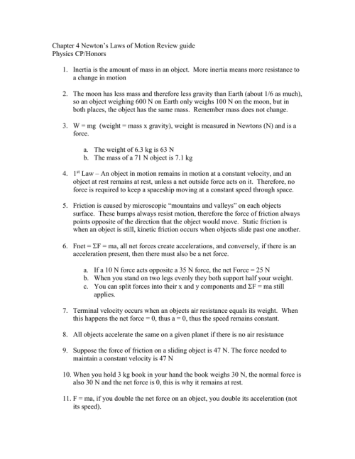 small resolution of Chapter 4 Newton's Laws of Motion Review guide Physics CP/Honors