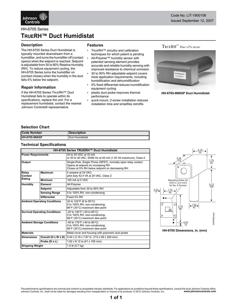 hight resolution of humidistat installation