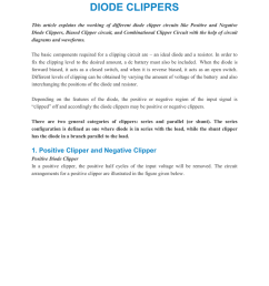 diode clippers this article explains the working of different diode clipper circuits like positive and negative diode clippers biased clipper circuit  [ 791 x 1024 Pixel ]