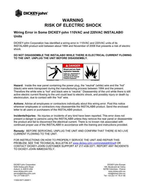 small resolution of warning risk of electric shock wiring error in some dickey john 110vac and 220vac instalab units dickey john corporation has identified a wiring error in