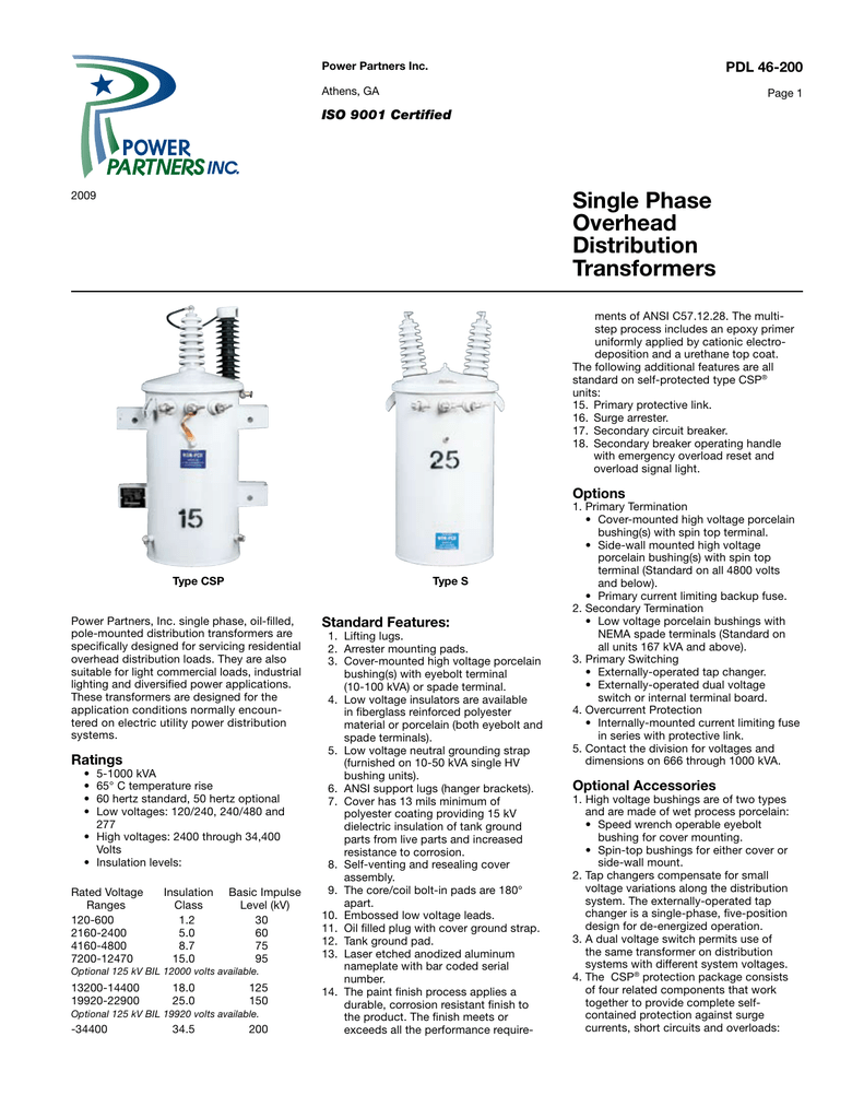 Single Phase Overhead Distribution Transformers
