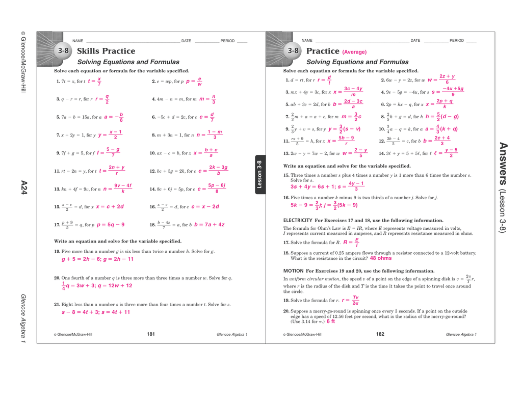 10 8 Skills Practice Equations Of Circles Worksheet