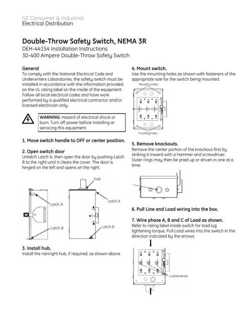 small resolution of double throw safety switch nema 3r