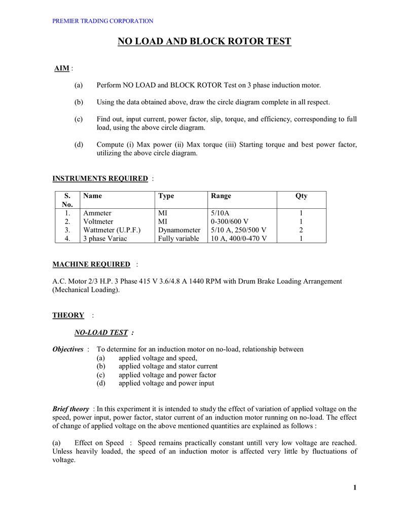 medium resolution of premier trading corporation no load and block rotor test aim a perform no load and block rotor test on 3 phase induction motor