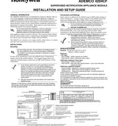 a ademco 4204cf supervised notification appliance module installation and setup guide general information connections and settings the ademco 4204cf  [ 791 x 1024 Pixel ]