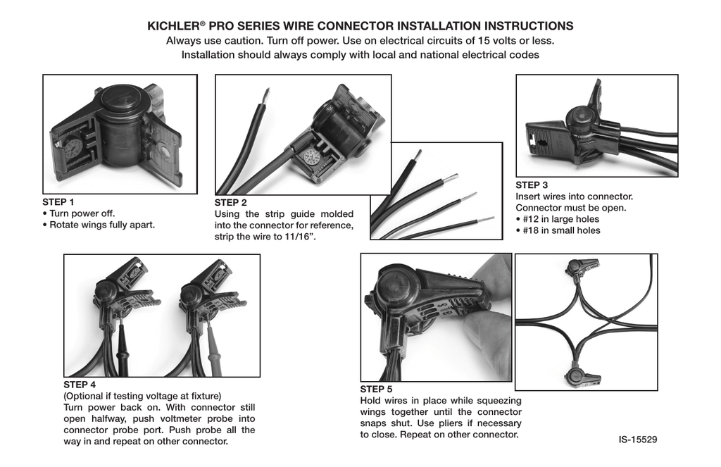 kichler® pro series wire connector installation instructions