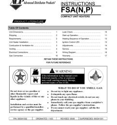 installation instructions fsa n p compact unit heaters product literature atlanta ga table of contents unit dimensions 1 leak check  [ 791 x 1024 Pixel ]